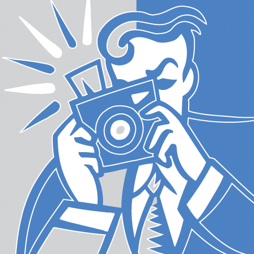 blue and gray illustration of a photographer and a camera flashing light
